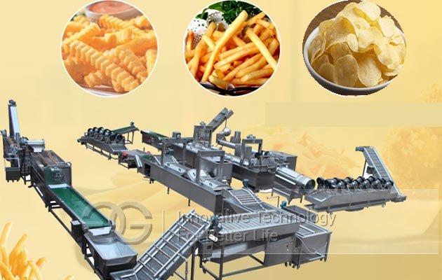 Automatic Frozen French fries Production Line|Potato Cassava Sticks machine