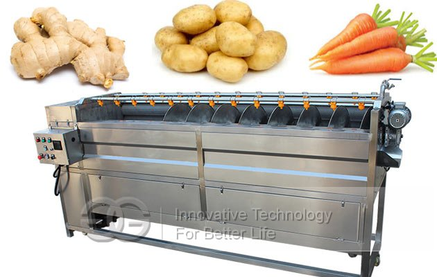 Automatic Potato Ginger Washing Peeling Machine|Brush Type Vegetable Washing Machine