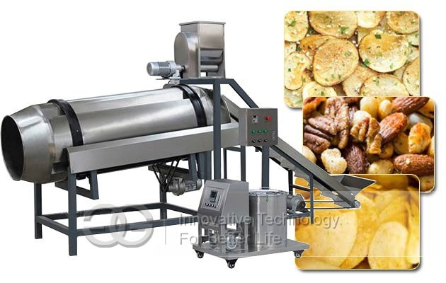 Single-Drum Flavoring Line|Snack Chips Seasoning Machine