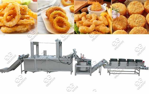 Continuous Crispy Calamari Frying Line Squid Rings Frying Machine