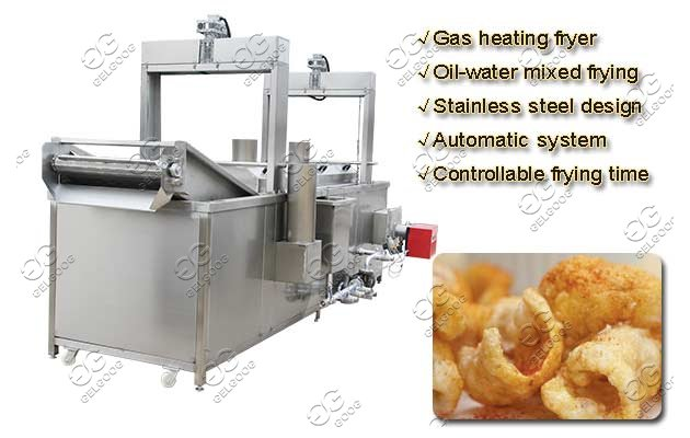 Continuous Pork Rinds Frying Equipment Automatic Crackling Fryer Machine