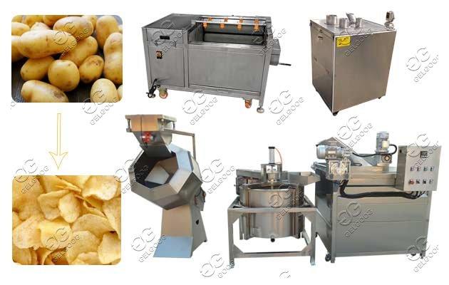 Semi-automatic Potato Cassava Chips Production Line Mini Plant For Potato Crisps