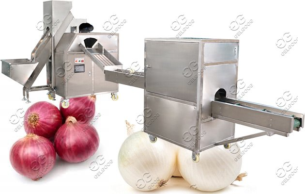 onion peeling and root cutting machine