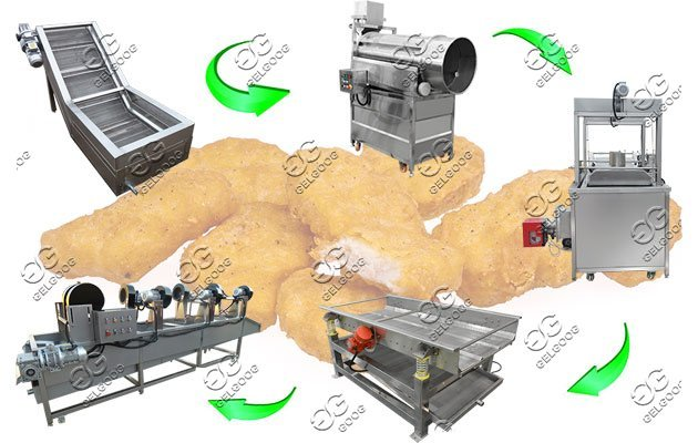 chicken nuggets frying line